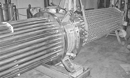 Tantalum Tantalum Bayonet Style Heat Exchanger with supported stinger tubes