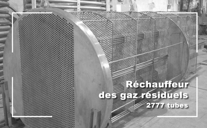 Rechauffeur des gaz residuels 2777 tubes.