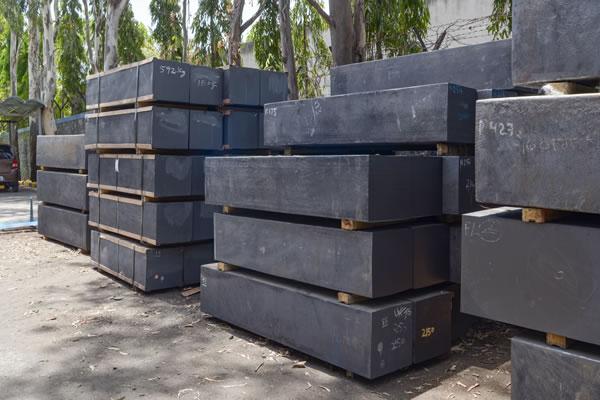 Raw graphite blocks material.