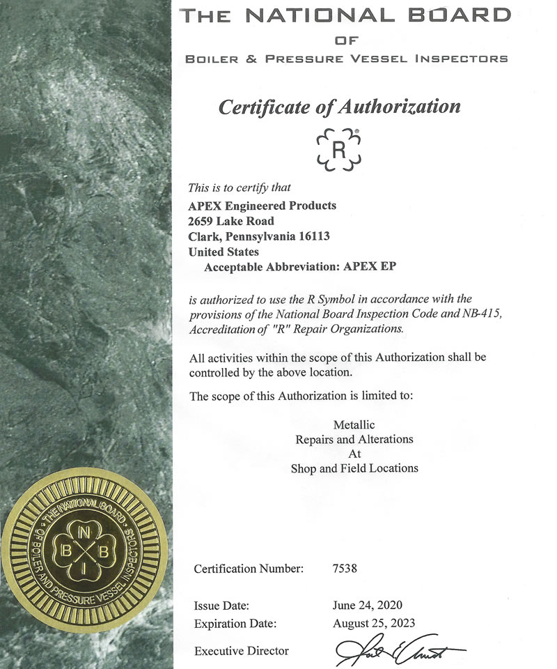 The National Board of Boiler & Pressure Vessel Inspectors Certificate of Authorization