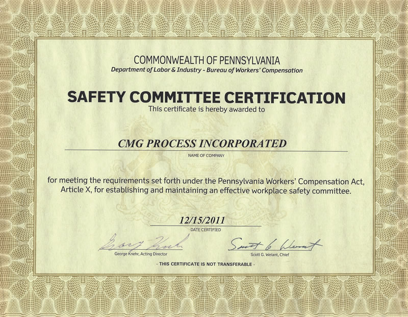 Safety Committee Certification