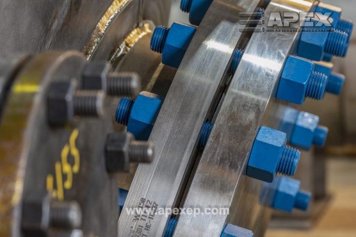 Titanium tank nozzles closeup