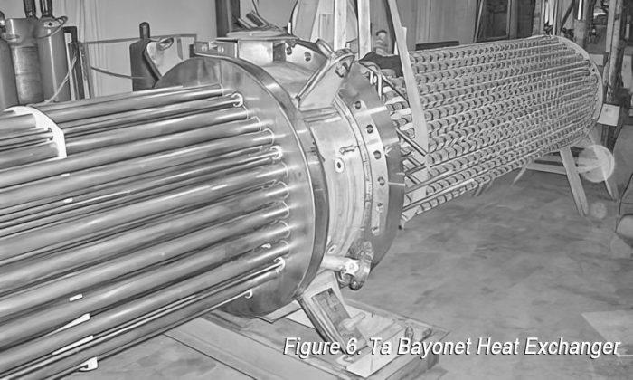 Tantalum bayonet heat exchanger