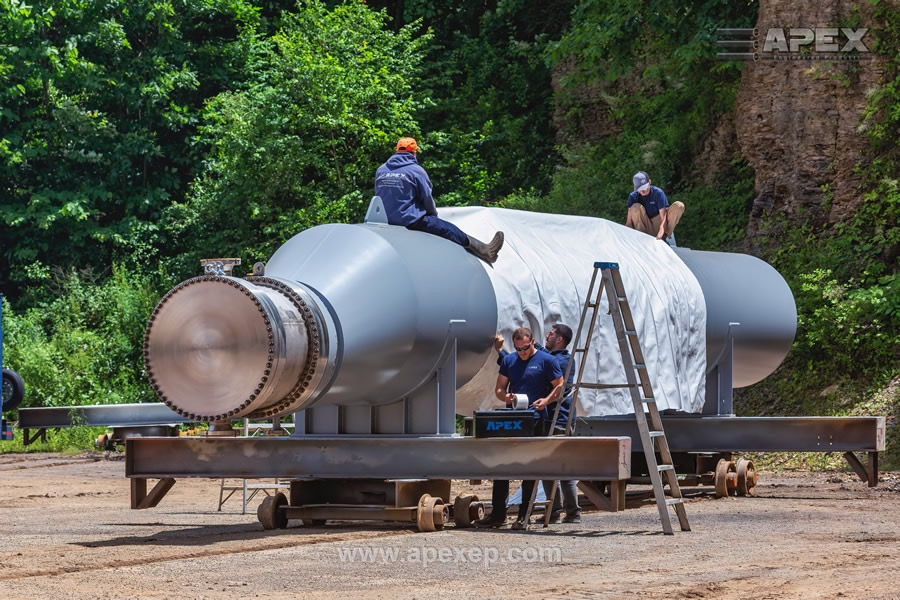 Geothermal Steam Generator is being shrink-wrapped by the Apex team